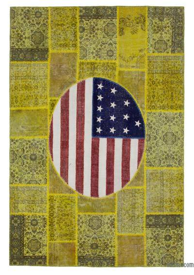Patchwork US Flag Rug - 6'7'' x 9'11'' (79 in. x 119 in.)