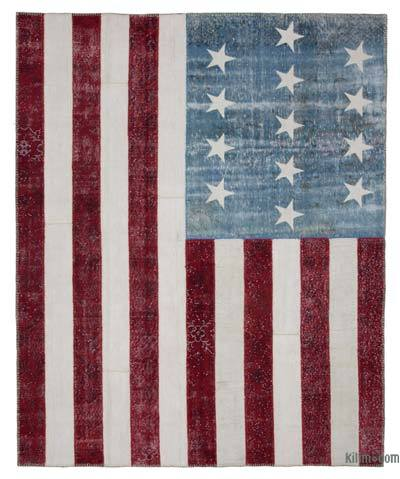 "Patchwork US Flag Rug - 8'2"" x 10' (98 in. x 120 in.)"