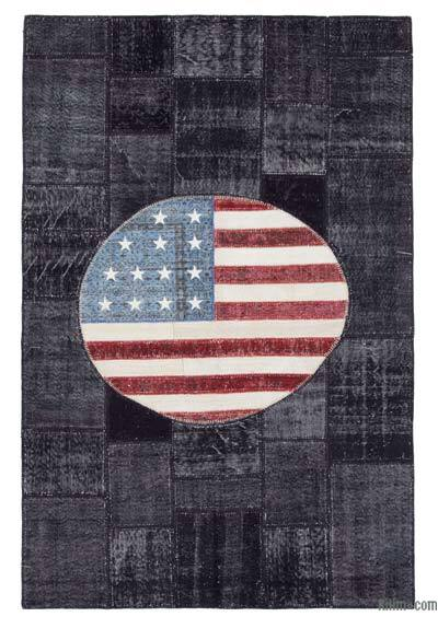 Multicolor Patchwork US Flag Rug - 6'6'' x 9'11'' (78 in. x 119 in.)