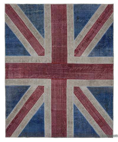 "Patchwork British Flag Rug - 8'2"" x 10' (98 in. x 120 in.)"