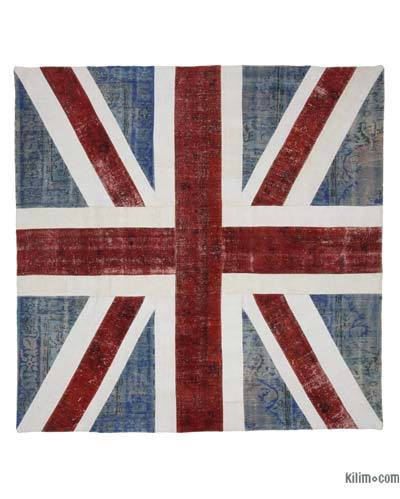 "Patchwork British Flag Rug - 8'7"" x 8'7"" (103 in. x 103 in.)"