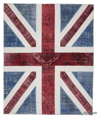 "Patchwork British Flag Rug - 8'1"" x 10' (97 in. x 120 in.)"