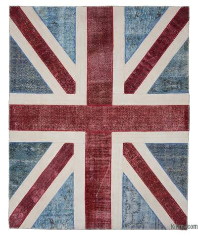 Blue, Red Patchwork British Flag Rug - 8'1'' x 10'1'' (97 in. x 121 in.)