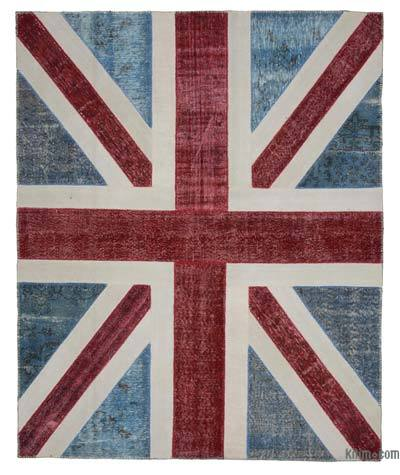 "Patchwork British Flag Rug - 8'2"" x 10'2"" (98 in. x 122 in.)"