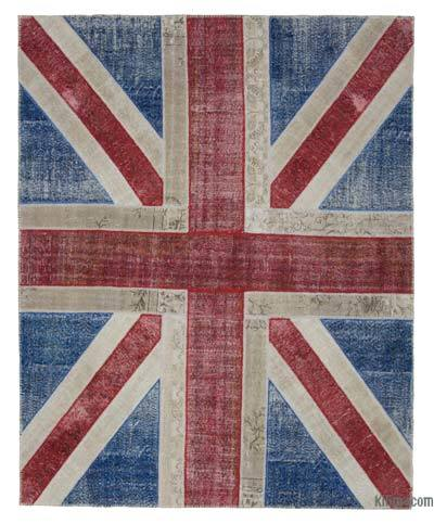 Patchwork British Flag Rug - 8'2'' x 10'1'' (98 in. x 121 in.)