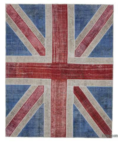 Patchwork British Flag Rug - 8'2'' x 10'2'' (98 in. x 122 in.)