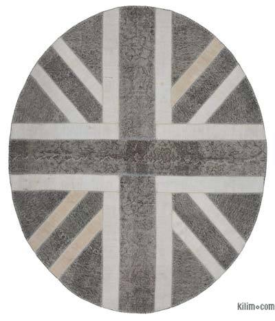 Grey Patchwork British Flag Rug - 7' x 8'4'' (84 in. x 100 in.)