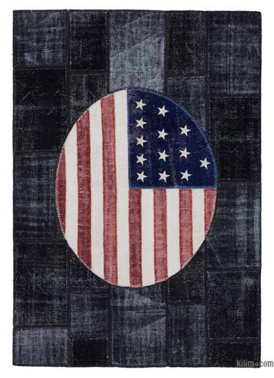Patchwork US Flag Rug - 5'8'' x 8'2'' (68 in. x 98 in.)