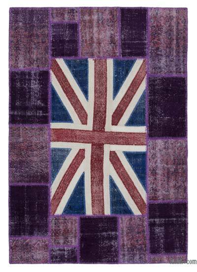 Patchwork British Flag Rug - 5'7'' x 8'1'' (67 in. x 97 in.)