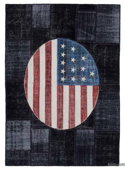 Patchwork US Flag Rug - 5'7'' x 8'1'' (67 in. x 97 in.)
