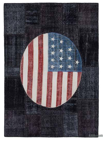 Patchwork US Flag Rug - 5'7'' x 11'5'' (67 in. x 137 in.)