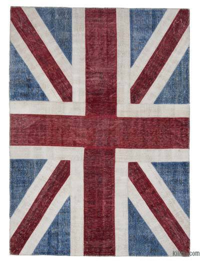 Blue, Red Patchwork British Flag Rug - 5'8'' x 7'10'' (68 in. x 94 in.)