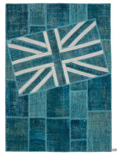 "Patchwork British Flag Rug - 5'9"" x 7'11"" (69 in. x 95 in.)"