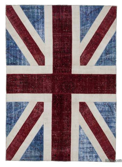 Blue, Red Patchwork British Flag Rug - 5'7'' x 8' (67 in. x 96 in.)
