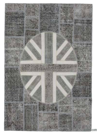 "Patchwork British Flag Rug - 5'7"" x 8'2"" (67 in. x 98 in.)"