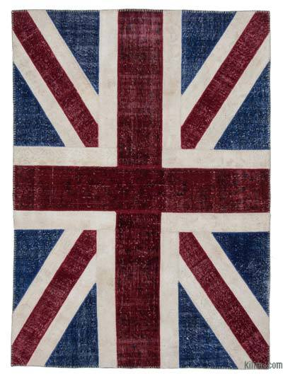 Blue, Red Patchwork British Flag Rug - 5'7'' x 7'10'' (67 in. x 94 in.)
