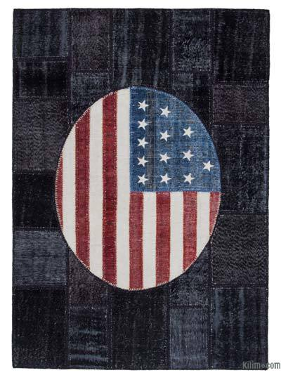 Patchwork US Flag Rug - 5'8'' x 8'1'' (68 in. x 97 in.)