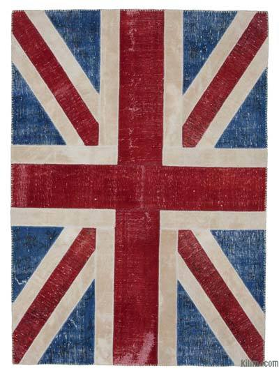 Blue, Red Patchwork British Flag Rug - 5'8'' x 7'11'' (68 in. x 95 in.)