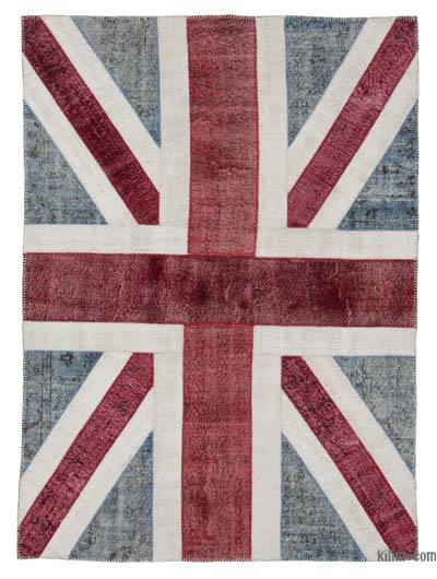 "Patchwork British Flag Rug - 5'7"" x 7'10"" (67 in. x 94 in.)"