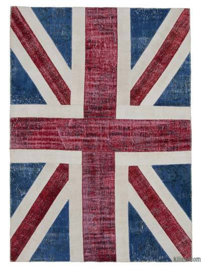 Blue, Red Patchwork British Flag Rug - 5'8'' x 8' (68 in. x 96 in.)