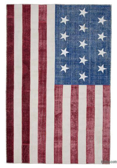 "Patchwork US Flag Rug - 6'5"" x 9'10"" (77 in. x 118 in.)"