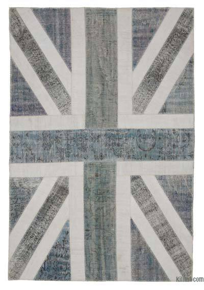 Patchwork British Flag Rug - 6'7'' x 9'10'' (79 in. x 118 in.)