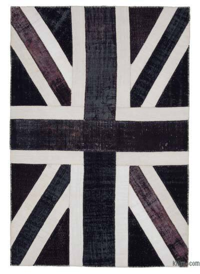 Patchwork British Flag Rug - 6'8'' x 9'10'' (80 in. x 118 in.)