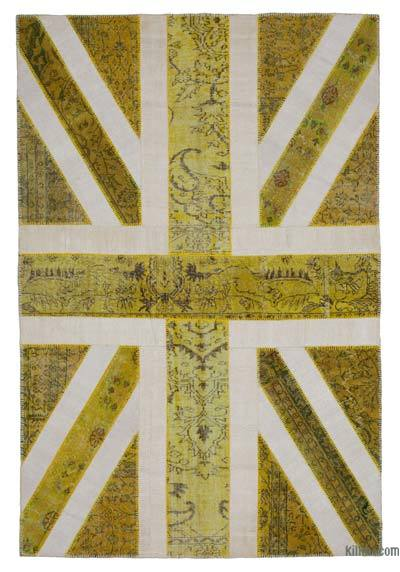 Yellow Patchwork British Flag Rug - 6'7'' x 10' (79 in. x 120 in.)