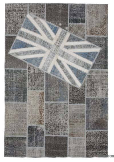 "Patchwork British Flag Rug - 6'7"" x 9'11"" (79 in. x 119 in.)"