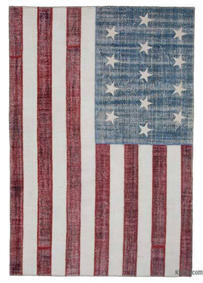 Blue, Red Patchwork US Flag Rug - 6'8'' x 9'11'' (80 in. x 119 in.)