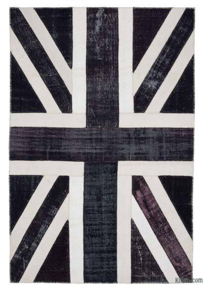 Black Patchwork British Flag Rug - 6'8'' x 9'10'' (80 in. x 118 in.)