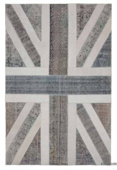 Patchwork British Flag Rug - 6'7'' x 10' (79 in. x 120 in.)