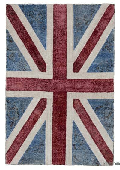 Blue, Red Patchwork British Flag Rug - 4'1'' x 6' (49 in. x 72 in.)