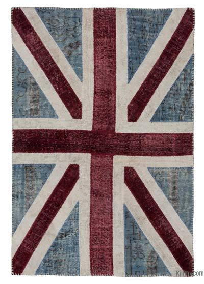 Blue, Red Patchwork British Flag Rug - 4' x 6' (48 in. x 72 in.)