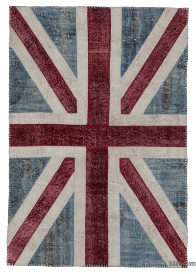 Patchwork British Flag Rug - 4' x 5'11'' (48 in. x 71 in.)