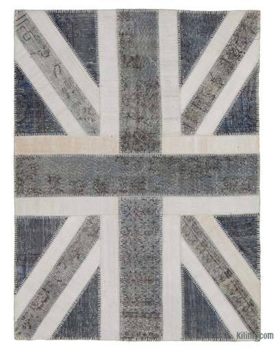Grey Patchwork British Flag Rug - 4'9'' x 6'4'' (57 in. x 76 in.)