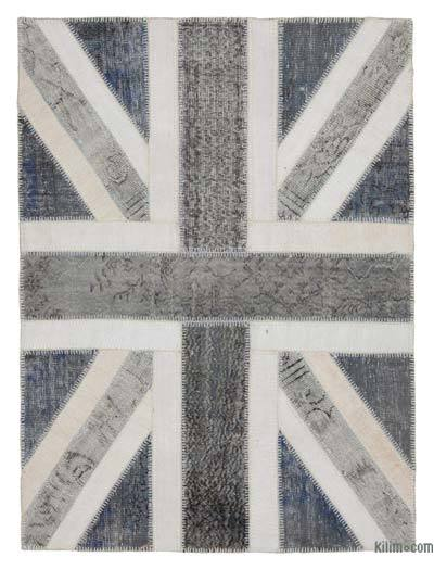 "Patchwork British Flag Rug - 4'9"" x 6'5"" (57 in. x 77 in.)"