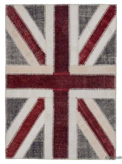 Grey, Red Patchwork British Flag Rug - 3'6'' x 4'9'' (42 in. x 57 in.)