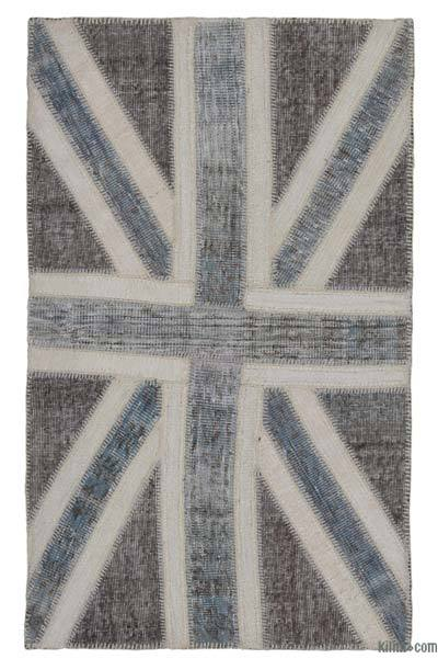 Grey Patchwork British Flag Rug - 3'1'' x 5'1'' (37 in. x 61 in.)