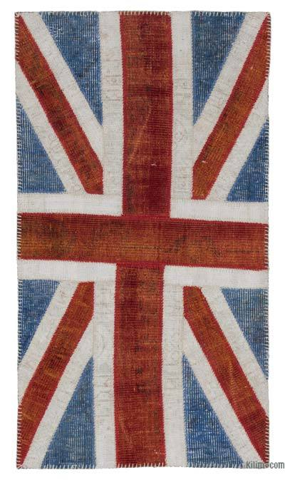 Patchwork British Flag Rug - 2'8'' x 5' (32 in. x 60 in.)