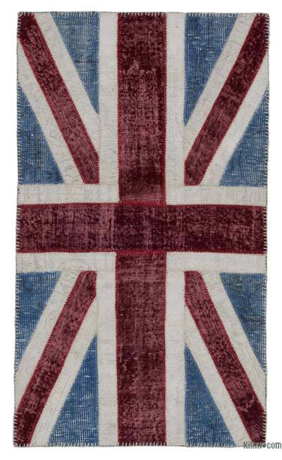 Blue, Red Patchwork British Flag Rug - 2'10'' x 5' (34 in. x 60 in.)