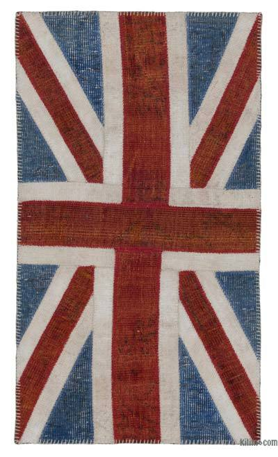 Blue, Red Patchwork British Flag Rug - 2'8'' x 4'11'' (32 in. x 59 in.)