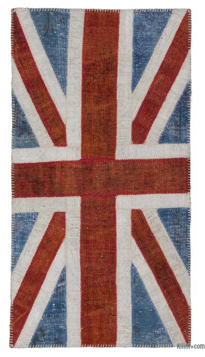 Blue, Red Patchwork British Flag Rug - 2'7'' x 5' (31 in. x 60 in.)
