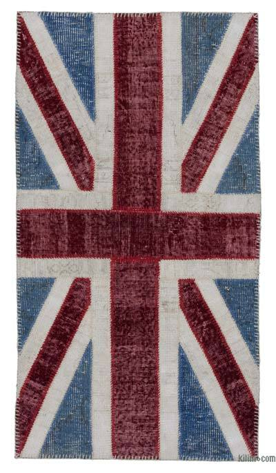 Blue, Red Patchwork British Flag Rug - 2'8'' x 5' (32 in. x 60 in.)