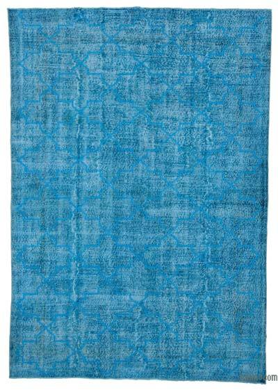 Turquoise Embroidered Over-dyed Turkish Vintage Rug - 7'1'' x 10'2'' (85 in. x 122 in.)