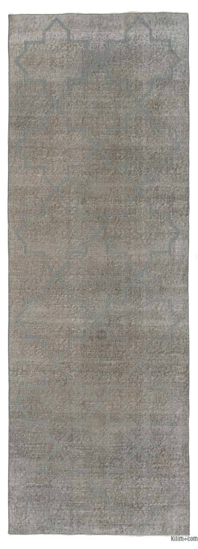 Grey Embroidered Over-dyed Turkish Vintage Runner - 2'9'' x 7'11'' (33 in. x 95 in.)