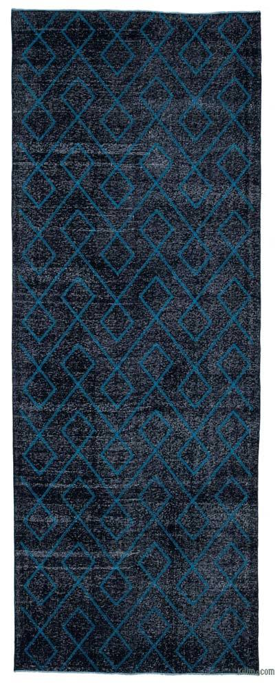 "Embroidered Over-dyed Turkish Vintage Runner - 4'10"" x 13'1"" (58 in. x 157 in.)"
