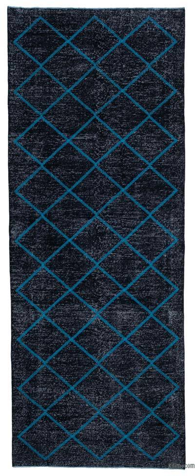 "Embroidered Over-dyed Turkish Vintage Runner - 4'8"" x 12'3"" (56 in. x 147 in.)"
