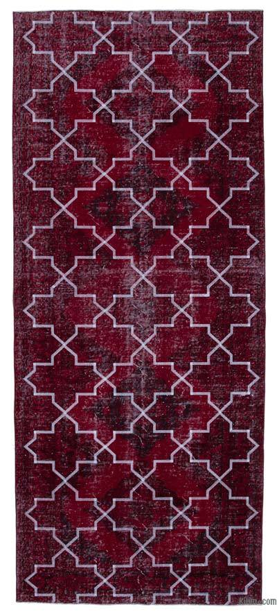 "Embroidered Over-dyed Turkish Vintage Runner - 4'10"" x 11'6"" (58 in. x 138 in.)"