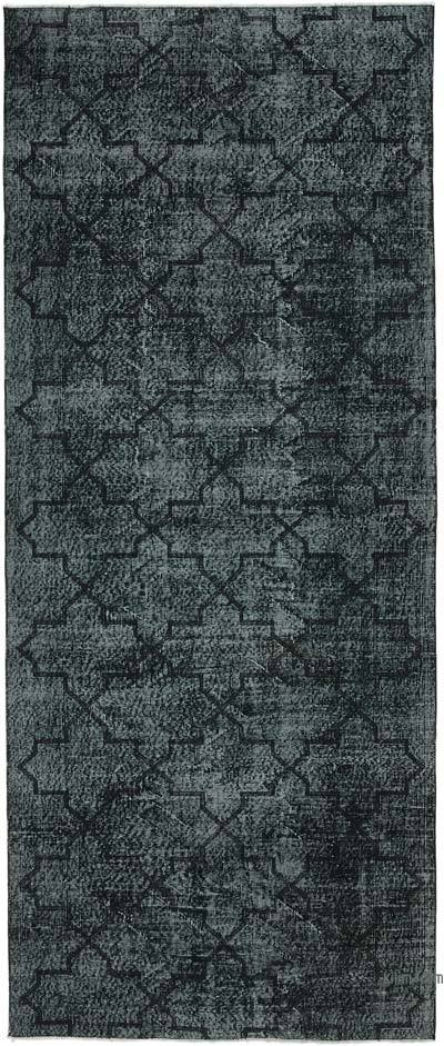 Black Embroidered Over-dyed Turkish Vintage Runner - 4'9'' x 11'5'' (57 in. x 137 in.)